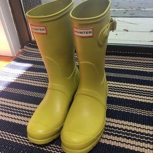 HUNTER BOOTS SHORT Matte Yellow Chartreuse